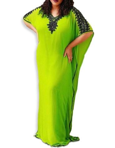 Trendy African Design Collection Abaya Long Maxi Beaded Dubai Kaftan for Women