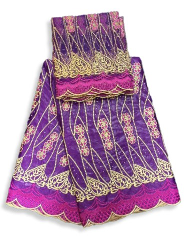 Trendy Women's African Attire Embroidery 100% Super Magnum Gold Getzner Bazin Dress Material