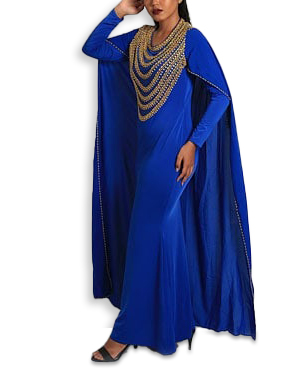 Trendy Gold Jewelled Lycra Long Back Cape Dress Moroccan Beaded Mermaid Evening Gown