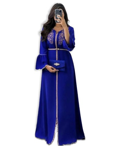 Latest African Attire Boat Neck Kaftan Dress for party & Wedding Moroccon Dubai Collection