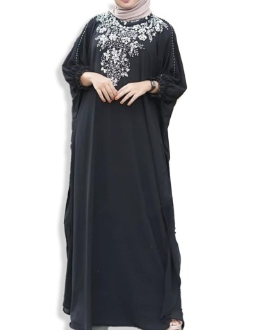 Trendy Moroccon Kaftan Jalabia Abaya Silver Stone Beaded African Attire Dresses for Women