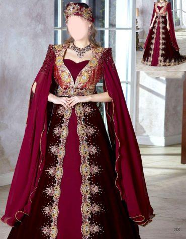 Hurrem Sultan Long Slit Sleeve Velvet Gold Embellished Dubai Kaftan Dress