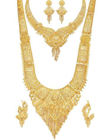 Designer Brass 9 Inch Long Queen Necklace And Golden Choker Set Combo for Women