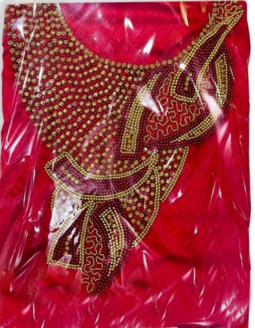 New Dubai Satin Silk Wedding Party Wear With Red And Golden Beaded Dress Material