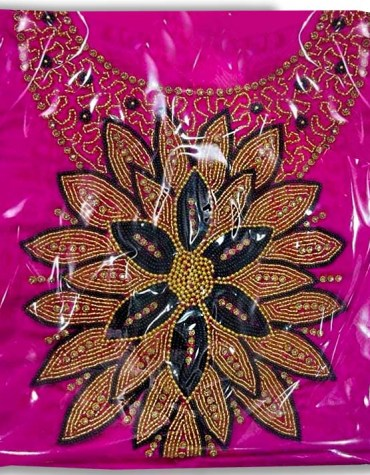 New Classic Satin Silk Wedding Party Wear With Black And Golden Beaded Dress Material