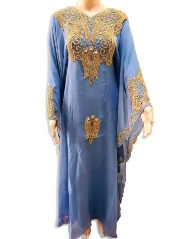 New Women Gown Evening Dresses Golden Beaded Chiffon Moroccan Dubai Kaftan