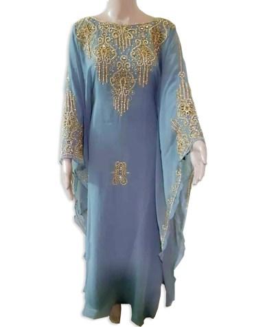 New Women Premium Dresses Golden Beaded Work Chiffon Moroccan African Kaftan