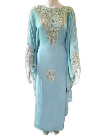 Latest Brilliant Gown Evening Dresses Golden Beaded Chiffon Moroccan Dubai Kaftan