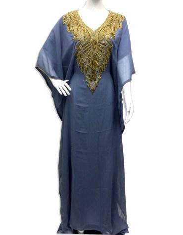 New Premium Gown Evening Dresses Golden Beaded Chiffon Moroccan Dubai Kaftan