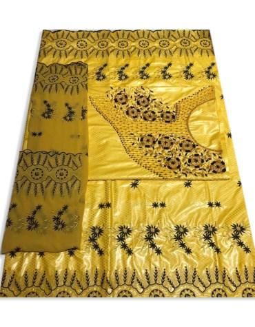 New Trendy 100% Super Magnum Gold Getzner Riche Bazin Black Embroidery Dress Material