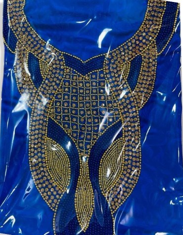 African Attire Satin Silk Party Wear with Blue and Golden Seed Beaded Dress Material for Women
