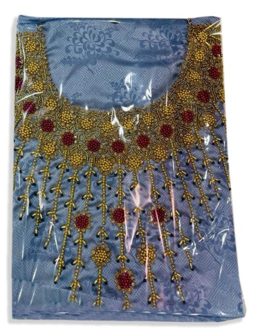 African Designer Satin Silk Wedding Party Wear with Red and Golden Seed Beaded Dress Material