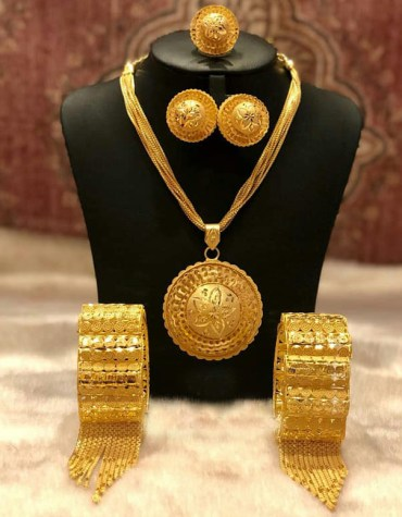 2 Gram Gold New Arrived Evening Party Wear Designer Necklace Set with Bangles