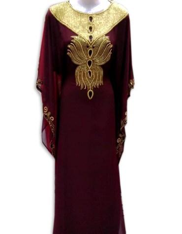 African Attire Premium Quality Chiffon kaftan Dress with Golden Stone Beaded