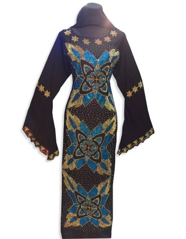 Latest Premium Golden Beaded Work Designer Chiffon African Kaftan forb Women