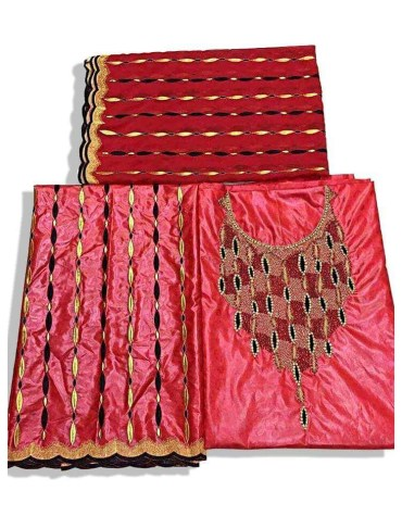 African Stylish 100% Super Magnum Gold Getzner Bazin Dress Material For Women