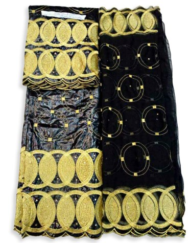 African Latest Embroidery 100% Super Magnum Gold Getzner Bazin Dress Material