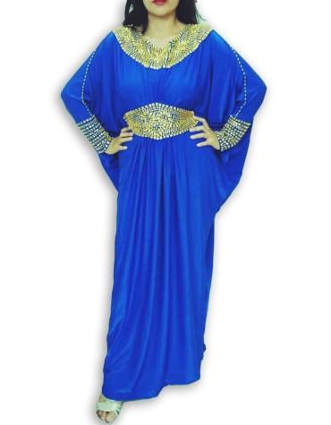 African Elegant Formal Gold Beaded Fancy Kaftan Dresses Party Wear for Women