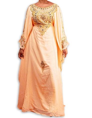 New Dubai Kaftan for Women Beads work Dress Gown Formal Chiffon African Wear