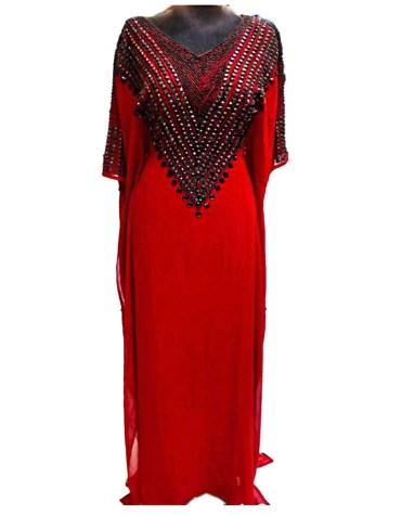 African Attire Long Stone Beaded Chiffon Kaftan Party Wear Dubai For Women