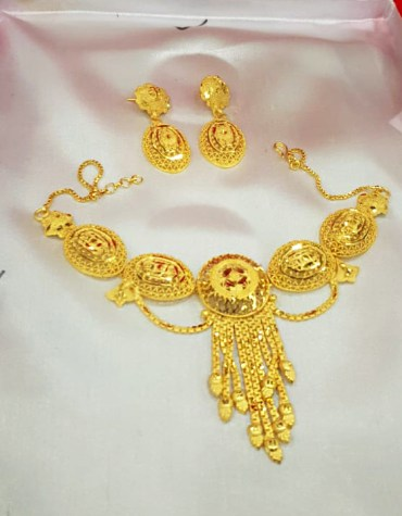 African Elegant 2 Gram Gold Jewellery Necklace and Earrings Set For Women