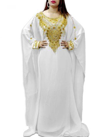 Trendy African Attire Beautiful Golden Beaded Plus size Dubai Party Kaftan for Women