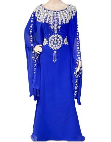 African Muslim Silver Crystal White Beaded Jalabia Abaya Royal Blue Chiffon Kaftan