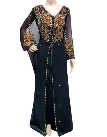 Chiffon Wedding Moroccan Beaded Evening Gown African Party Sparkly Women Kaftan