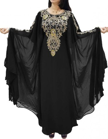 Stylish Dubai Kaftan Beads work Maxi Dress Chiffon African Wear For Women