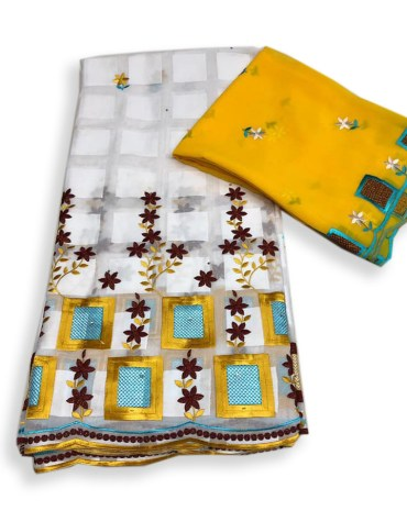 Elegant African Collection Swiss Voile Dress Material with Gold and Embroidery For Women