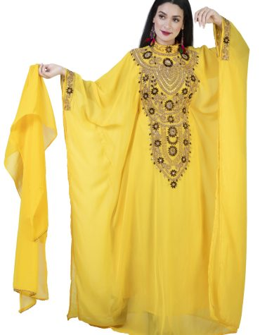 Elegant Round Collared Moroccan Embroidery Full Sleeves Chiffon Kaftan Dress For Women