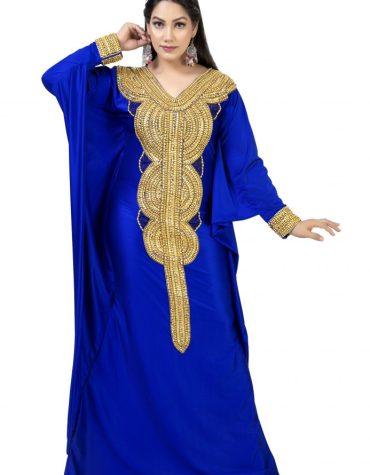Latest Gold Moroccan Beaded Elegent Fancy Trendy Party Wear Lycra kaftan for Women