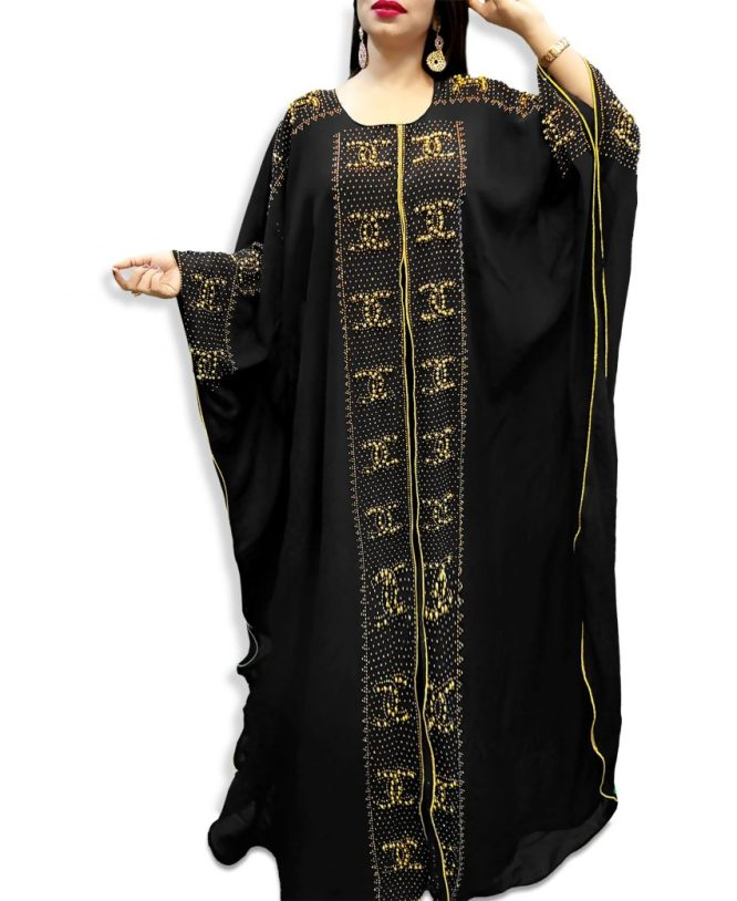 New African Attire Long Sleeve Rhinestone Work Kaftan Dubai Beaded Dresses For Women