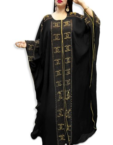 New African Attire Long Sleeve Rhinestone Work Kaftan Dubai Beaded Dresses For Women