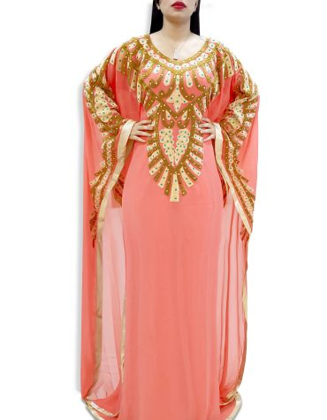 Dubai Kaftan Maxi Gown with Designer Golden and White Thread Hand Work Embroidery