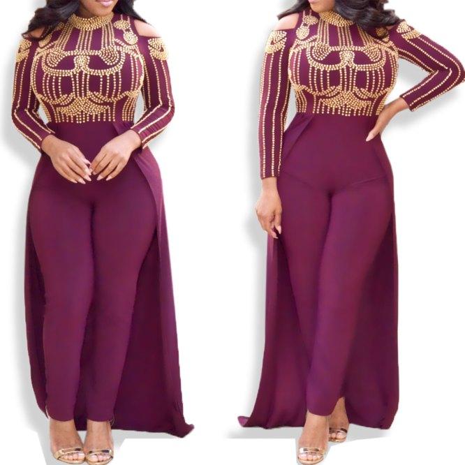 Designer Cut Shoulder Collared Long Sleeve Women Lycra Moroccan Jumpsuit kaftan