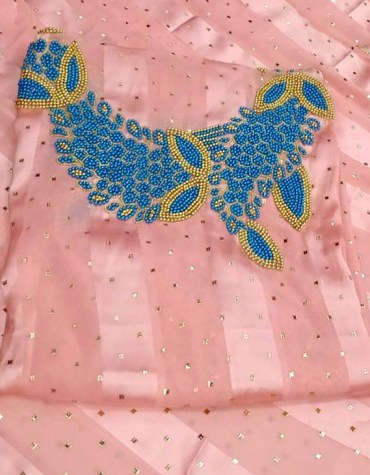 Latest Floral Designer African Seed Beaded Satin Silk Collection Party Dress Material