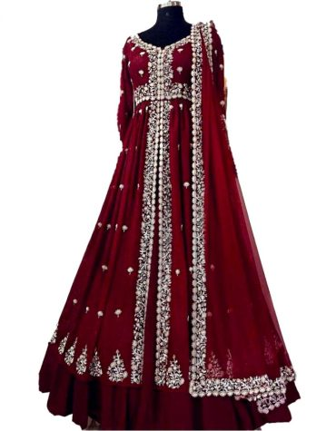 Party Wear and Exclusive Wedding Collection Designer Embroidered Gown For Women