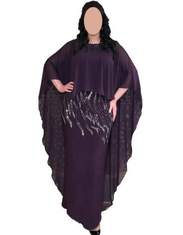 Fashionable Latest Rhinestone Beaded Stylish Chiffon Kaftan Dress for Women