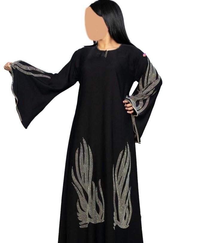 Designer African Party Wear Rhinestone Beaded Umbrella Sleeves Abaya for Women