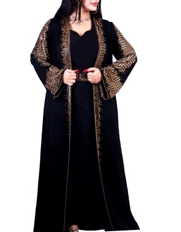 Designer Premium Quality Satin Kaftan with Golden Beaded Full Sleeves Jacket