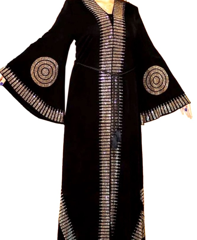Golden Rhinestone Beaded Umbrella Sleeves Stylist Dubai Abaya Kaftan for Women