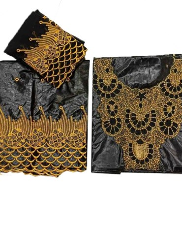 Heavy Golden Beaded 100% Super Magnum Gold Getzner Riche Bazin Dress Material