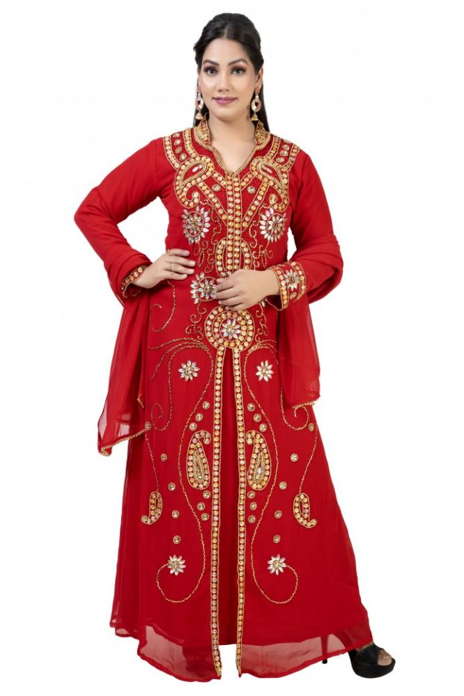 Women Muslim Formal Wedding Premium Dubai Kaftan Dress with Golden Beaded Work