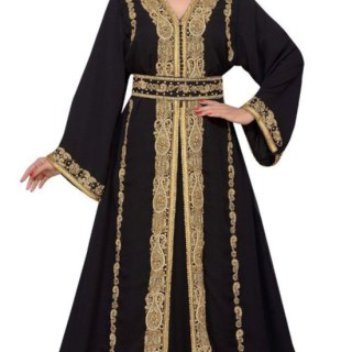 Exclusive Chiffon Fabric Golden Stone and Embroidery Work Kaftan Abaya for Women
