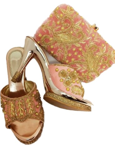 Latest Fashionable Hand Bags Golden Embroidered Work Collection For Women