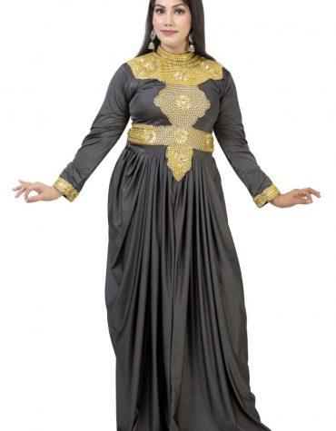 Latest African Style Golden Beaded Muslim Wedding Designer Dresses For Women