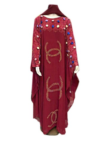 African Latest Headscarf Long Sleeve Evening Party Abaya Dresses for Women
