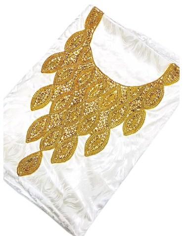 African Trendy Satin Silk Dress Golden Material Wedding Evening For Women