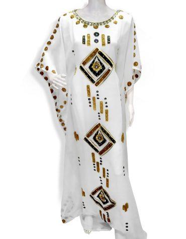 Embellished Moroccan Beaded Women Abaya Muslim Embroidery Dubai Dresses Kaftan